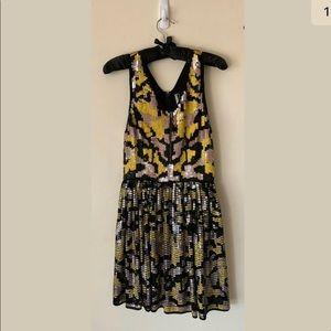 Topshop Sequinned VNeck Racerback Party Mini Dress